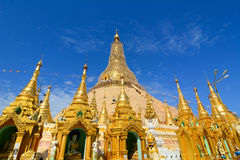 Top of golden stupa at Shwedagon pagoda Stock Photos