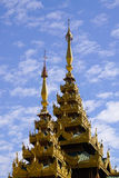 Top of golden stupa at Shwedagon pagoda Stock Photo