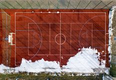 Top graphic view of basketball, volleyball or football court field red background, drone photography.  royalty free stock photo