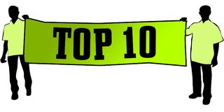 TOP 10 on a green banner carried by two men. Illustration graphic Royalty Free Stock Images