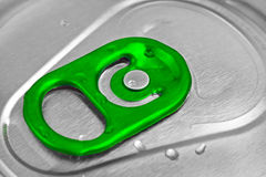 Top of a green beer or soft drink can Royalty Free Stock Photo