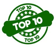 TOP 10 green stamp. Illustration graphic concept image Royalty Free Stock Photo