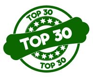 TOP 30 green stamp. Illustration graphic concept image Royalty Free Stock Photography