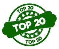 TOP 20 green stamp. Illustration graphic concept image Stock Photos