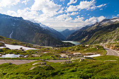On top of the Grimselpass Stock Photos