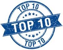 Top 10 grunge retro blue ribbon stamp. Top 10 grunge retro blue isolated ribbon stamp royalty free illustration