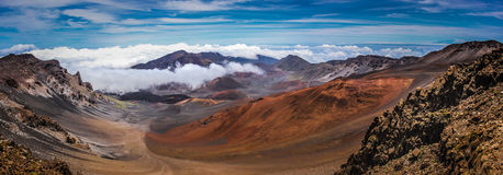 Top of Haleakala Crater. Colorful panoramic view of a volcanic cones from the peak of the Haleakala Crater in Maui, Hawaii Stock Images