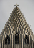 Top of the Hallgrimskirkja Cathedral in Reykjavik, Iceland, lutheran parish church, exterior in a sunny summer day with Royalty Free Stock Photography