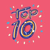 Top 10 hand drawn lettering. vector illustration