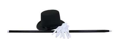 Top Hat Black Cane White Gloves Stock Photo