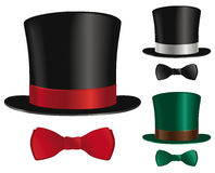 Top hat and bow tie. A top hat and bow tie selection stock illustration