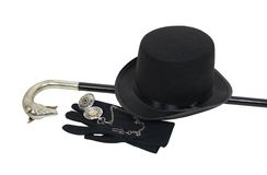 Top hat and cane. Top hat, cane, pocket watch and gloves give a sophisticated look for formal events - path included Stock Photos