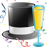 Top hat and Champagne. Illustration of a top hat, champagne and confetti Royalty Free Stock Photos