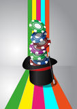 Top hat chips casino Royalty Free Stock Image