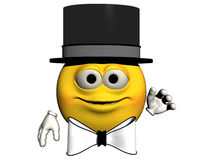 Top Hat Emoticon. A smiling emotiguy in top hat and bow tie waves at you.  Computer Generated Image, 3D models Royalty Free Stock Photos