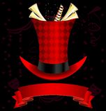 Top-hat and fanfare. Dark background, magic top-hat and golden fanfare Stock Images