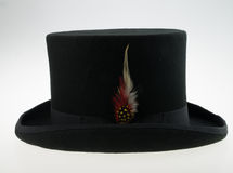 Top hat with feather. Top hat wool with feather Royalty Free Stock Image