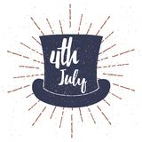 Top Hat with Grunge texture vector illustration and 4th July lettering. Vector. Illustration Stock Image