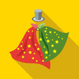 Top hat and handkerchiefs of magician icon Royalty Free Stock Image