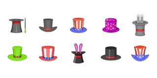 Top hat icon set, cartoon style. Top hat icon set. Cartoon set of top hat vector icons for your web design isolated on white background Stock Photography