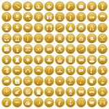 100 top hat icons set gold. 100 top hat icons set in gold circle isolated on white vector illustration Royalty Free Illustration