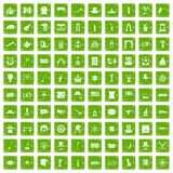 100 top hat icons set grunge green Stock Image