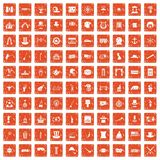 100 top hat icons set grunge orange. 100 top hat icons set in grunge style orange color isolated on white background vector illustration Stock Images