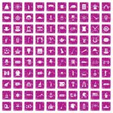 100 top hat icons set grunge pink. 100 top hat icons set in grunge style pink color isolated on white background vector illustration Stock Photos