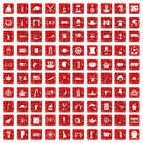 100 top hat icons set grunge red. 100 top hat icons set in grunge style red color isolated on white background vector illustration Stock Image