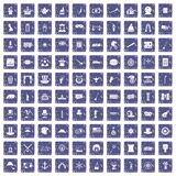 100 top hat icons set grunge sapphire. 100 top hat icons set in grunge style sapphire color isolated on white background vector illustration Royalty Free Stock Images