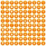 100 top hat icons set orange. 100 top hat icons set in orange circle isolated on white vector illustration stock illustration