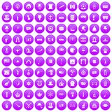 100 top hat icons set purple. 100 top hat icons set in purple circle isolated on white vector illustration Stock Illustration