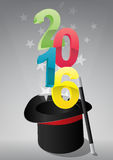 2016 top hat. Illustration of top hat with 2016 text Stock Images