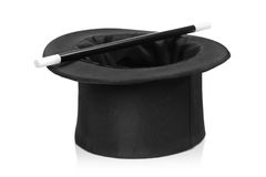 Top hat and a magic wand Stock Images