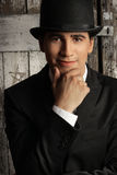 Top Hat Man. Young male model in top hat Royalty Free Stock Image