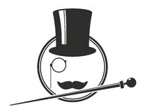 Top hat. Old-fashioned sign with top hat, walking stick and moustache Royalty Free Stock Photography