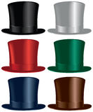 Top hat. A top hat selection in black, gray, red, green, blue and brown colors Stock Photography
