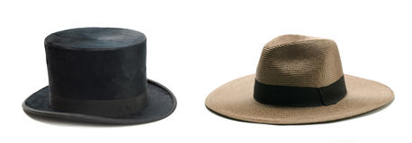 Top Hat and straw hat Stock Images