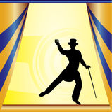 Top Hat and Tails Background. Background illustration with a stage and a debonair dancer Royalty Free Stock Images