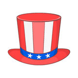 Top hat in the USA flag colors icon, cartoon style Stock Image