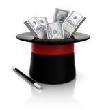 Top hat and wand with dollars Royalty Free Stock Photo