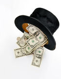 Top hat whit dollars Stock Photos