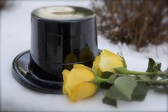 Top Hat and Yellow Roses stock photography