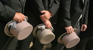 Top Hats. Line up of the Top Hats at UK wedding royalty free stock photos