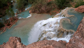 On Top of Havasu Falls. The view from on top of the havasu waterfall within the grand canyon Stock Image