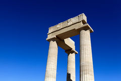 Top of Hellenistic stoa. At Lindos Acropolis, Rhodes, Greece Royalty Free Stock Photos