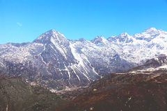 Top of High mountains. Covered by snow. Kangchenjunga, India Royalty Free Stock Photo