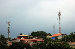 The telecommunications towers. stock photo