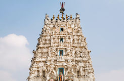 Top of Hindu temple with many sculptures of gods Stock Image