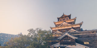 Top of Hiroshima Wooden Castle Royalty Free Stock Photos
